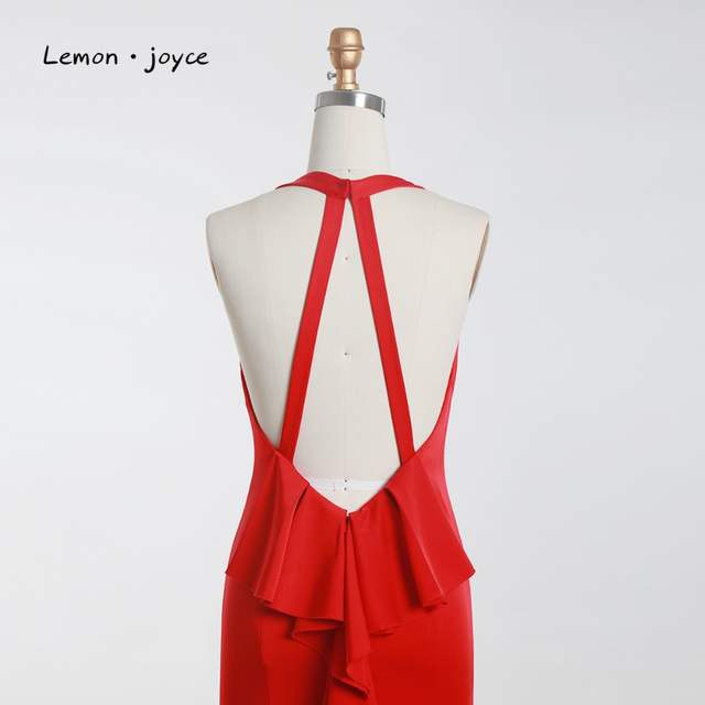 Lemon joyce Red Elegant Evening Dresses Long 2019 Sexy V-neck Backless Prom  Party Gowns 6789eeb5b9ae