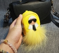 karl mini monster backpack charms key chains bag charm wallet fox fur pluffy leather purse key ring girl lady car accessories