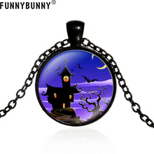 FUNNYBUNNY New Fashion Retro Silver Halloween Glass Pendant Necklace Jewelry gift Party favors