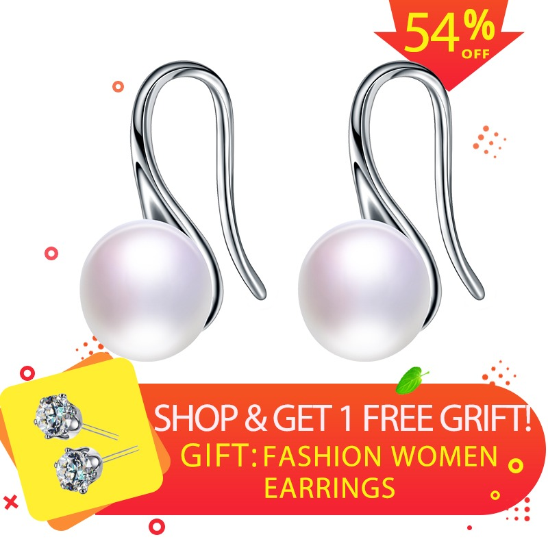 Hot Sale Natural Pearl Earrings For Women Freshwater AAAA Pearl Stud Earring Accessories Earrings, 925 Sterling Silver Earrings(China)