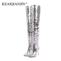 KEAIQIANJIN Woman Over The Knee Boots Winter Sexy Ultra High Heels Shoes Plus Size 32 43