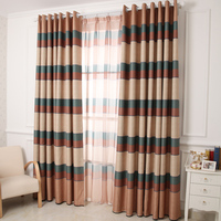 Printed Curtains Free Shipping! High Shading Rate 85% Striped Style Coffee/Blue Blackout Curtains For The Bedroom.