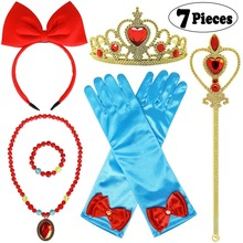 Princess Snow White Dress up Accessories with Crown Wand Gloves Necklace Earrings Bracelet Ring Headband for