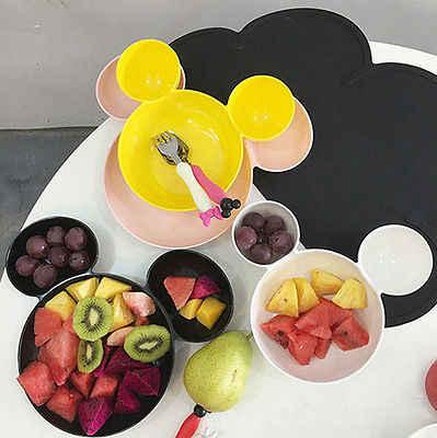 การ์ตูนมิกกี้เด็กรูปร่างชามผลไม้จานเด็กแผ่นเมลามีนบนโต๊ะอาหารสร้างสรรค์จานอาหารว่างจาน