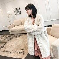 YOLANFAIRY Real Fur Coat Women Winter Merino Sheep Fur Coats Warm Thickening Wool Fur Outwear High Quality Female Jacket MF306
