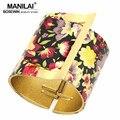 MANILAI 4 Style Choises European Design Multicolor Flower Bracelet Women Manchette Cuff Bangle Bracelets Statement Jewelry BL475
