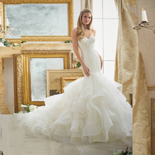 Noiva Custom Made Ivory/White Organza Applique Lace Mermaid Wedding Dress Vestido De Casamento