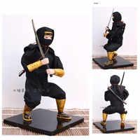 24 cm Lovelty di Plastica Giapponese Ninja Bambola con katana spada fatto A Mano nero katana artigianato regalo casa decration