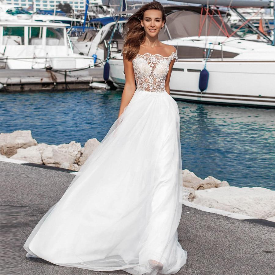 Weilinsha New Arrival Scoop Neck Sleeveless Applique Boho Beach Wedding Dresses Robe De Mariage