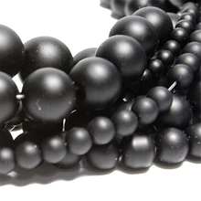 4 6 10mm Black Onyx Natural Stone Beads For Jewelry Making DIY Bracelet Necklace Round Polish Loose Smooth Wholesale