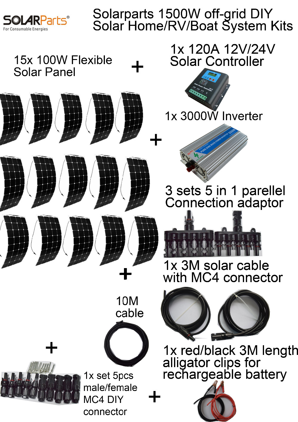 BOGUANG off-grid Photovoltaic system KITS 12v 1500W flexible solar panel ,solar panel system 120A controller 3KW inverter solarparts off grid solar system kits 800w flexible solar panel 1pcs 60a controller 2kw inverter 2 sets 4 in1 mc4 adaptor cable