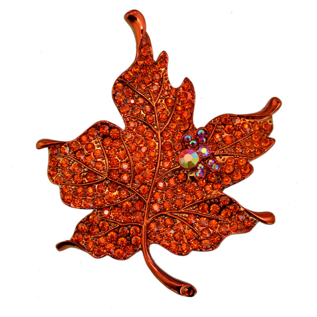 Multi Color Crystal Rhinestone Maple Leaf Brooch