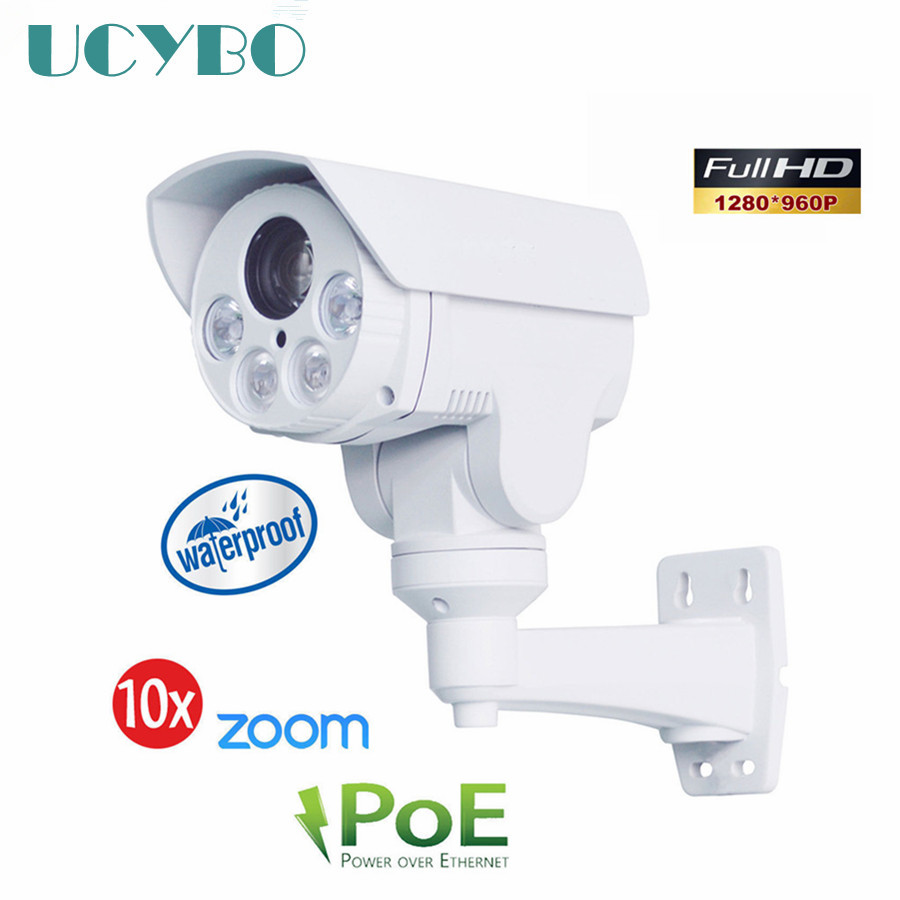 onvif 960P HD IP camera POE MINI PTZ outdoor waterproof Bullet pan tilt 10x auto zoom ir 1.3mp cctv network surveillance cam ip hd 1 3mp ip camera ptz bullet 4x zoom 960p hd project night vision outdoor waterproof ircut onvif p2p onvif poe hiseeu