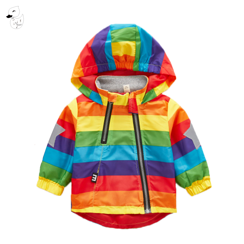 BINIDUCKLING Boys Girl Jacket Children Rainbow Color Clothing Kids Hooded Coats Windbreaker Outerwear Chaquetas Manteau Coat winter girl children clothing thick jacket coats for toddler teenage kids girl clothes outfits windbreaker jacket outerwear coat