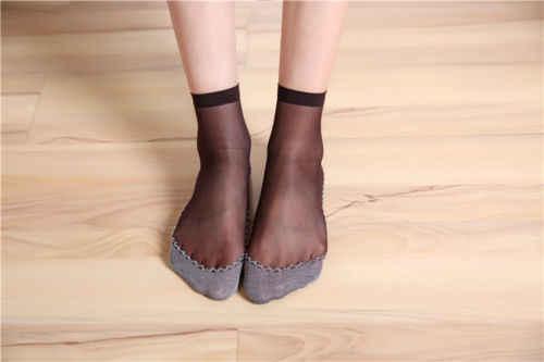 1 пара женские ультра тонкие эластичные шелковые короткие Лодыжка Низкий вырез носки Модные женские короткие шелковые носки