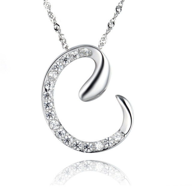 35e5c449fab0 10pcs lot Newest Silver Alphabet Letter C Pendant Necklace with Chain  Crystal Valentine s Day Gift