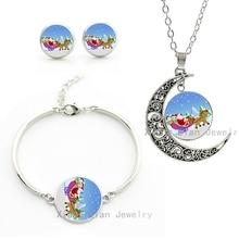 New Snowing Winter Santas Sleigh cartoon art pture women kids jewelry sets Christmas New Year necklace earrings bracelet CM149