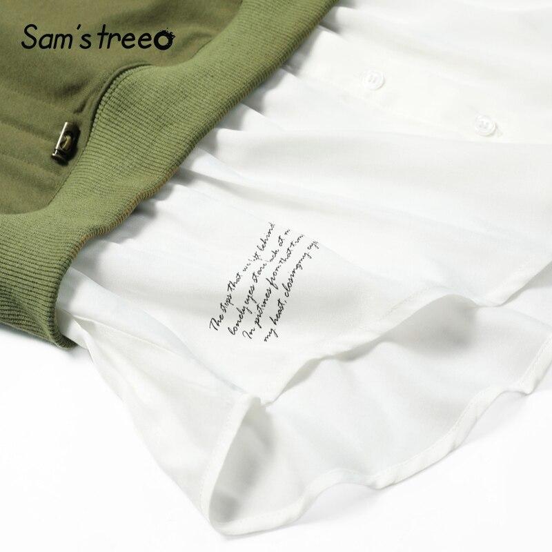 Femmes Femme Longues Amples Pièces Pulls Cou O Sweat Printemps Patchwork Deux Manches Green À Faux Solide rxqr0nXwH6
