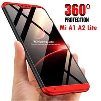 Funda de protección de cuerpo completo para móvil, cubierta de lujo a prueba de golpes funda de teléfono para Xiaomi Mi A2 Lite con funda de vidrio templado para Mi A1 A2, 360