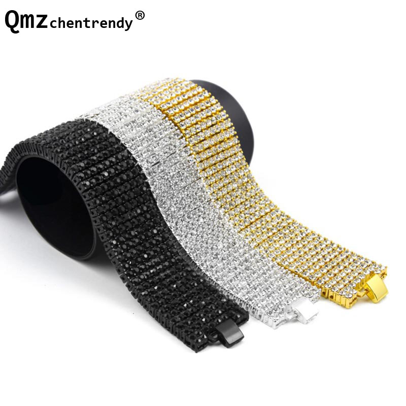 Exaggerated 8 Rows 30mm wide Chains Bracelets Shiny Full Rhinestones Bangle Hip Hop Bling Jewelry T-Show Nightclub Accessories