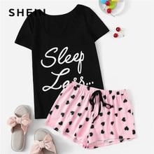 SHEIN Cute Short Sleeve Slogan Tshirt And Heart Print Drawstring Waist Shorts Pajamas Set Women Summer Casual Sleepwear Pj Set