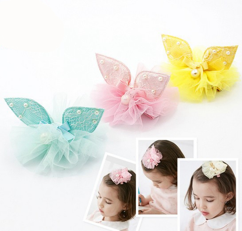 Forget-me-not Store Colorful Hot sale fashion Girl Hairpins ribbon Flower Sweet Boutique Pearl Alligator Hair Chips DIY Hair Accessories for kids