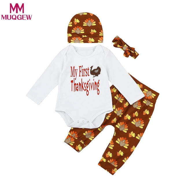 b521aacc4f7 4PCS Set My First Thanksgiving Newborn Baby Boy Girl Turkey Long Sleeve  Romper +Pant Hat Headband Outfit Toddler Kids Clothing