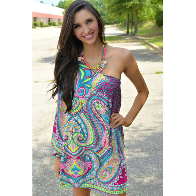 195a9889770 2016 Summer Ethnic Trend Women Dresses One Shoulder Loose Casual Beach  Dress Floral Printed Mini Chiffon