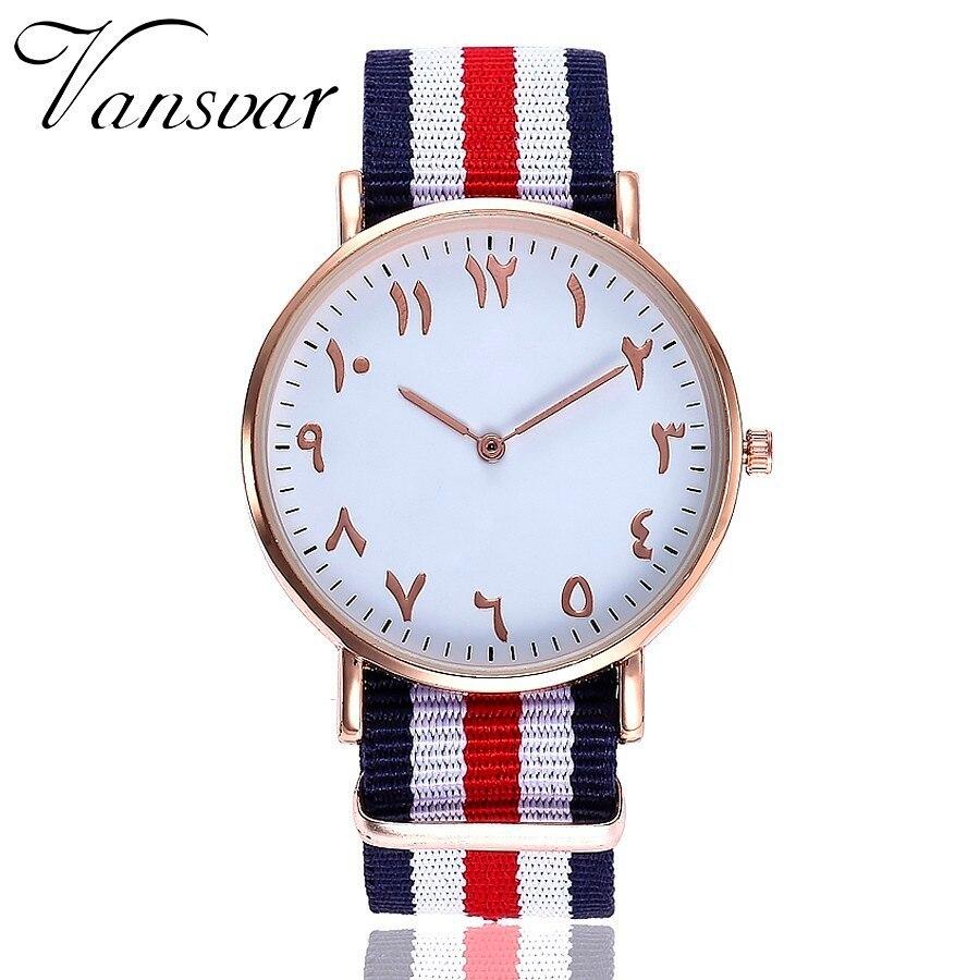 Vansvar Brand Luxury Women Men Nylon Strap Arabic Numbers Watch Quartz Watch Gift Clock Relojes Mujer Montre Femme Dropshipping