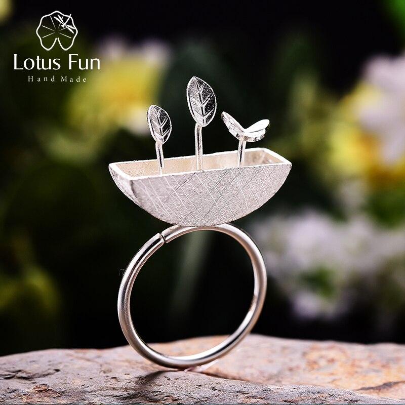 Lotus Fun Real 925 Sterling Silver Natural Creative Handmade Designer Fine Jewelry My Little Garden Open Rings For Women Bijoux