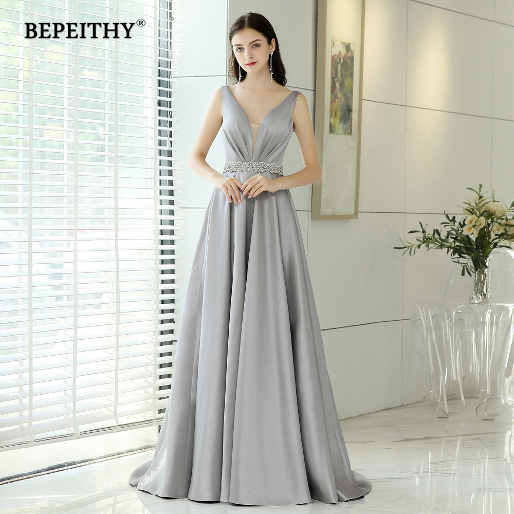Abendkleider Evening Dresses Long With Crystal Belt Vintage V Neck Elegant Formal Gown Robe De Soiree Cheap Prom Dress 2019