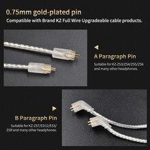 KZ 3,5 мм/2,5 мм сбалансированный посеребренный кабель обновления KZ 2pin посеребренный кабель для KZ AS10/AS06/ZS10/ZST/ES4 ZS5/ZS6/ZSA/ED16