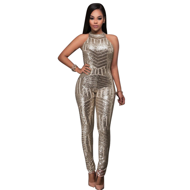 fa5bf615b97f 2018 Womens Sequined Jumpsuits Sexy Club Shiny Jumpsuit Ladies Evening Party  Playsuit Champagne Backless Long Pants Club Elegant