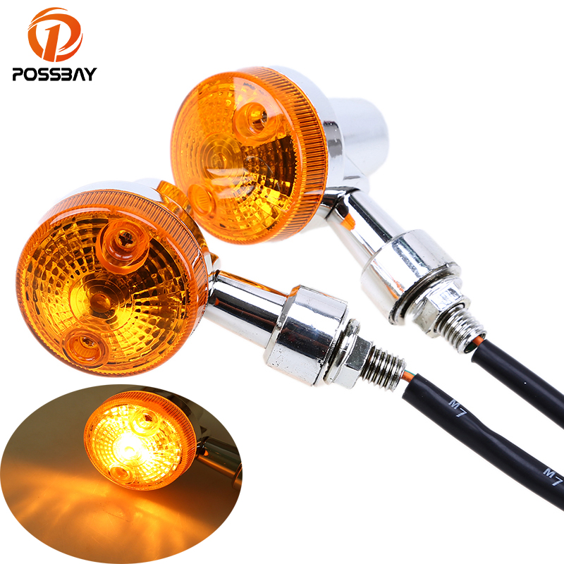POSSBAY 2Pcs/Lot 12V Motorcycle Turn Signal Light Cafe Racer LED Flashers Lights Blinker Indicator Light for Suzuki Harley Honda