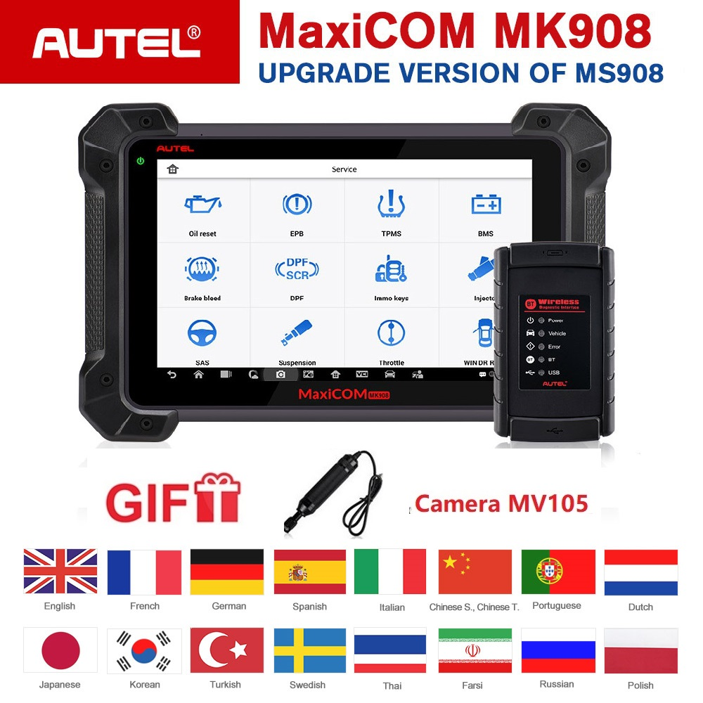 Autel MaxiCOM MK908 Auto Scanner de Diagnóstico Avançado Abrangente Ferramenta Completa Do Sistema de Codificação do ECU