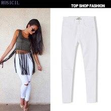 ROSICIL  Jeans Women Pencil Pants Ladies High Waist Denim Ripped Skinny Jeans For Women Slim Jeans Trou Genou Pantalon TSL017-W#