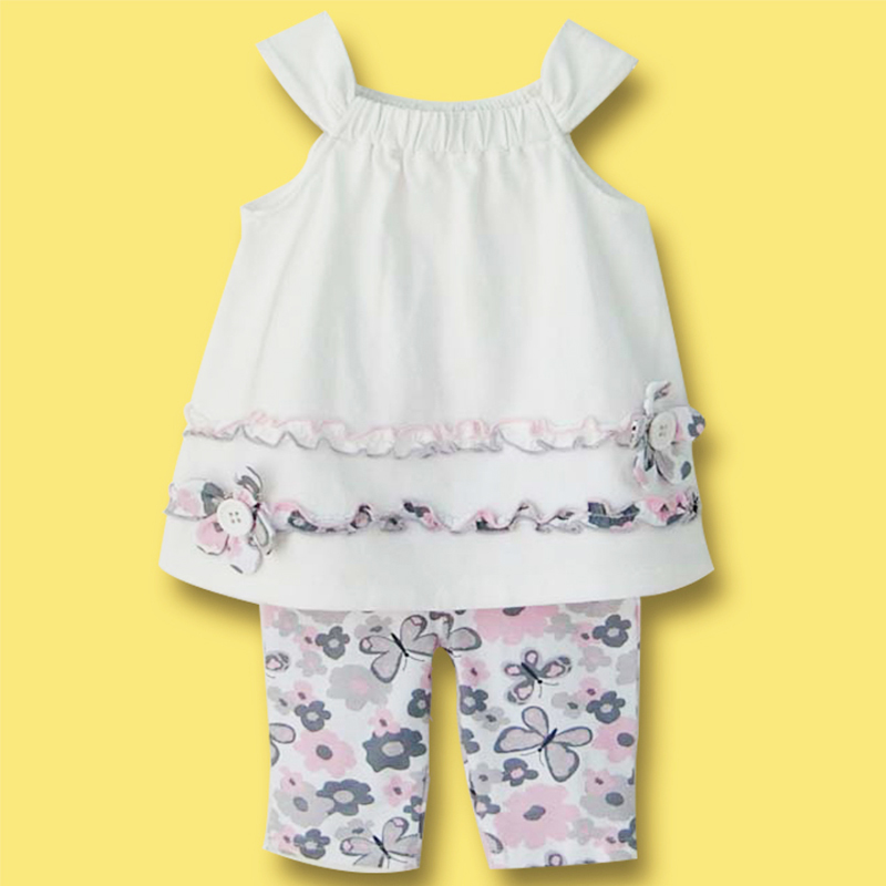 2016 Summer Baby Girl Clothing Set Cotton White Floral Vest + Butterfly Leggings Newborn Infant Bebe Clothes