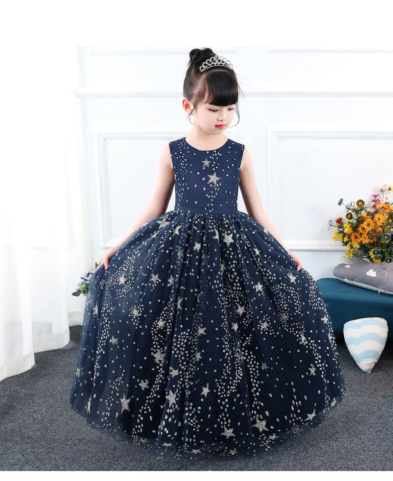 Princess Dress Stars Printed Floor Length Kids Pageant Dress for Birthday  Party Sleeveless Flower Girl Dresses for Wedding B155 a049d54684cb