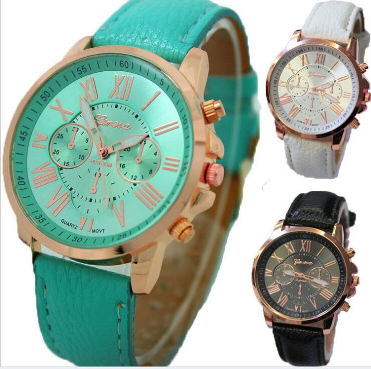 Prix pour Unisexe genève en cuir PU Quartz montres hommes femmes marque de luxe chiffres Roma hommes montre Casual robe montres 100 pcs/lote
