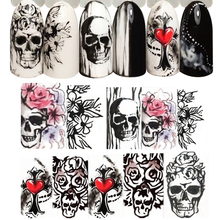 1pcs Halloween Nail Sticker Skull Rose Clown Jewelry White Black Water Transfer Decals For Nail Art Manicure Foil LASTZ731-755