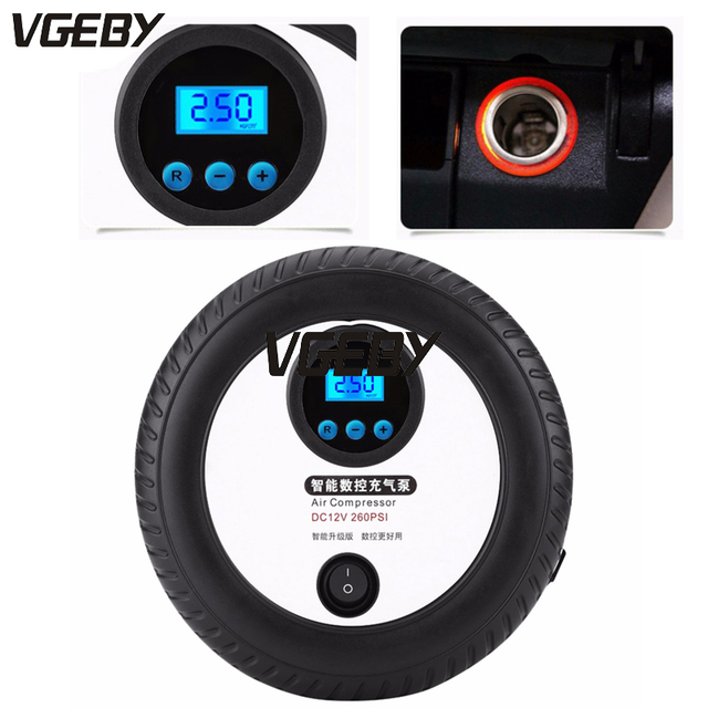Overseas - VGEBY 12V Digital Portable Tire Inflator Pump Air Compressor 260PSI Car