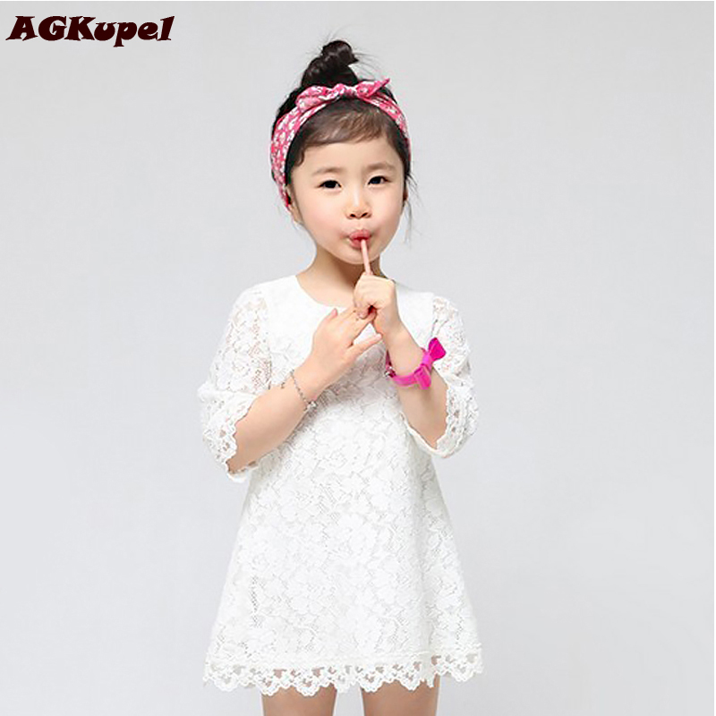 6 Colors New 2016 Casual Children Kids Girl's Dresses Spring Summer Mom Girls Lace Dress Princess Mini Dresses Kid Baby Clothes