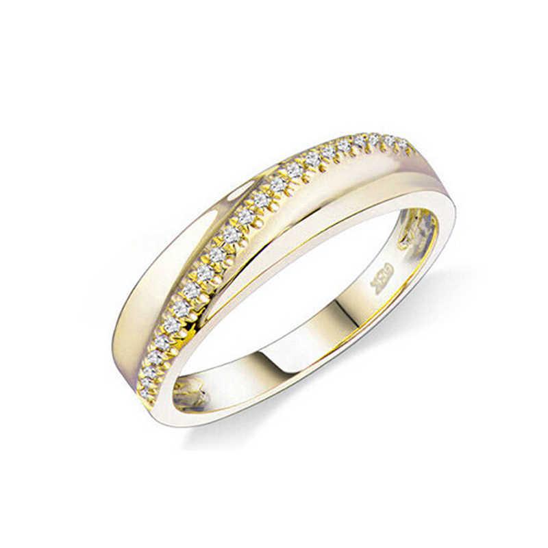للجنسين خاتم الماس الدائري للنساء الرجال غرامة مجوهرات خمر الماس الطبيعي الصلبة 10k الذهب الأصفر الاشتباك خاتم الزفاف الفرقة