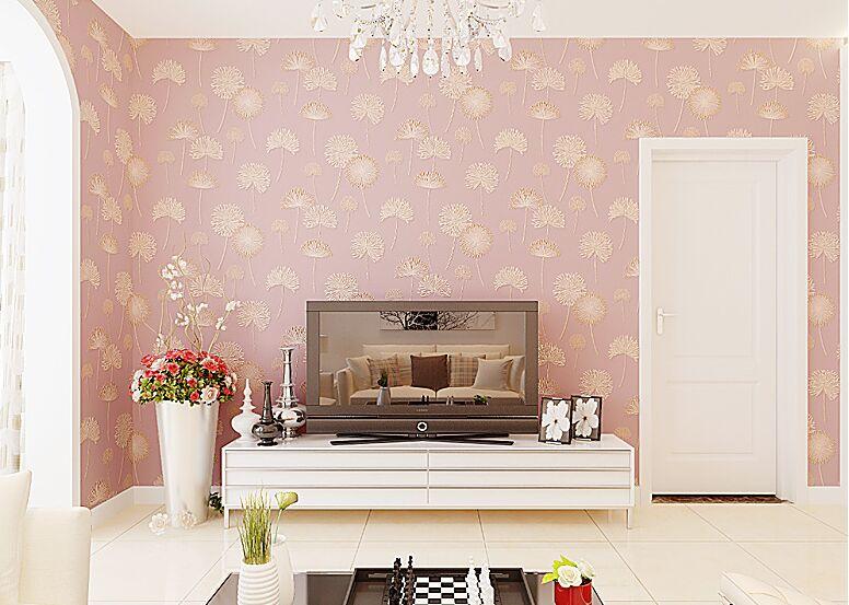 Modern Korean Style Dandelion Wallpaper Non woven for Birls Bedoom ...