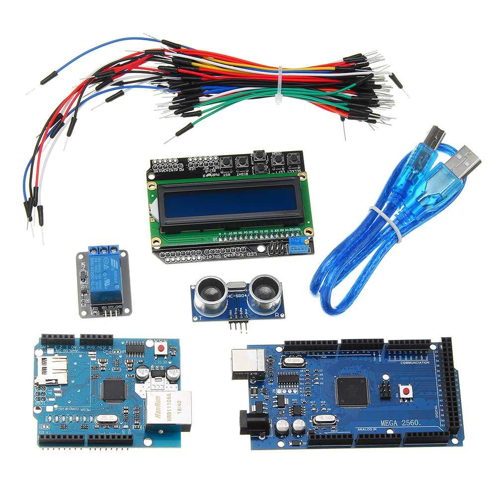 Mega 2560 R3 pour Kit Arduino + HC-SR04 + platine de prototypage câble + Module relais + bouclier W5100 + écran LCD 1602