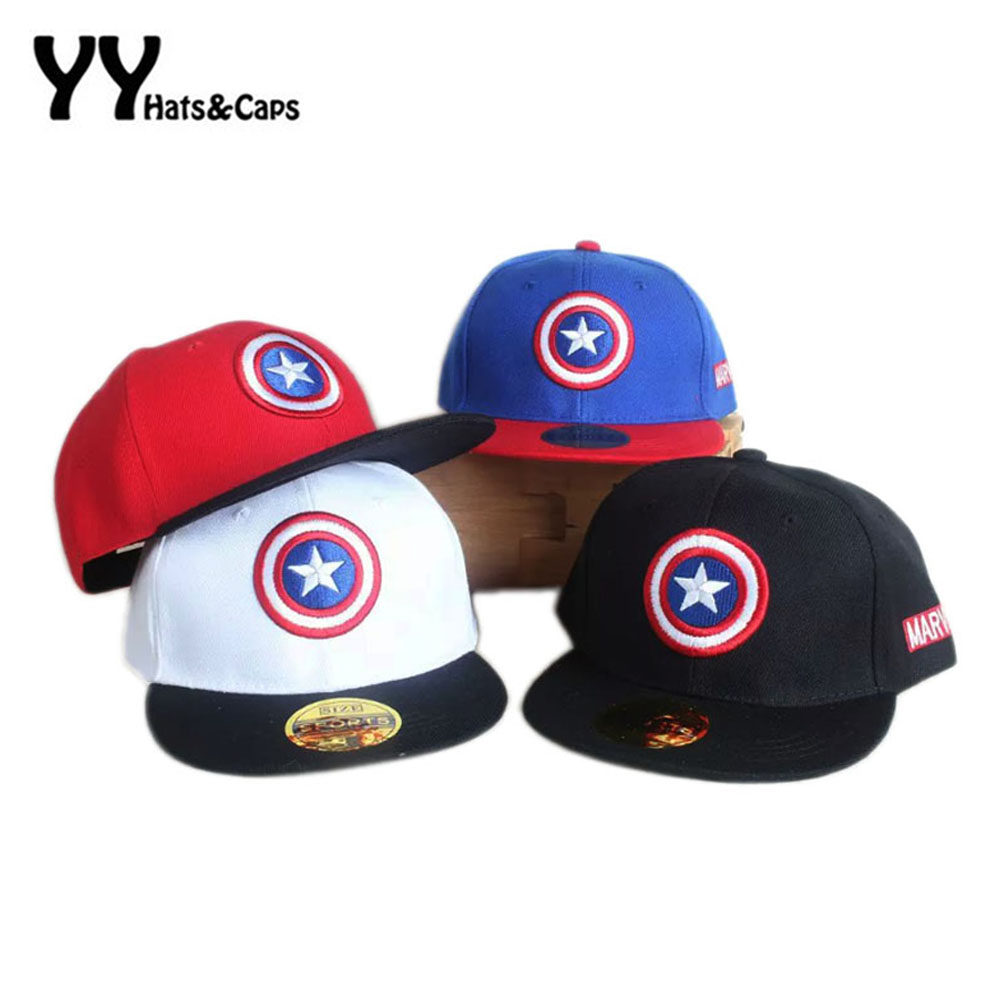Spring Summer Snapback   Caps   kids   Baseball     Cap   Marvel's The Avengers Captain America Adjustable Bone Snapback Casquette Hat