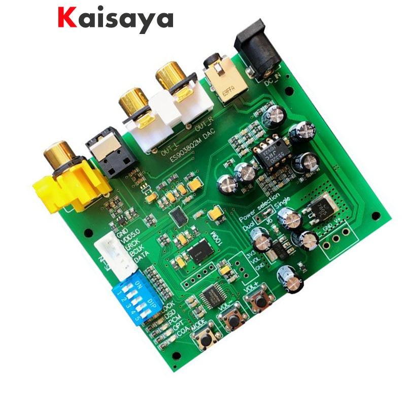 ES9038Q2M I2S IIS DSD DOP Coaxial Fiber SPDIF Digital Audio DAC Decoder Board support 32bit 384k/DSD64 DSD128 DSD256 for hifi brand new gustard u12 xmos usb dac digital audio interface aes ebu coaxial hdmi 0 1ppm support 32bit 384khz dsd64 dsd128