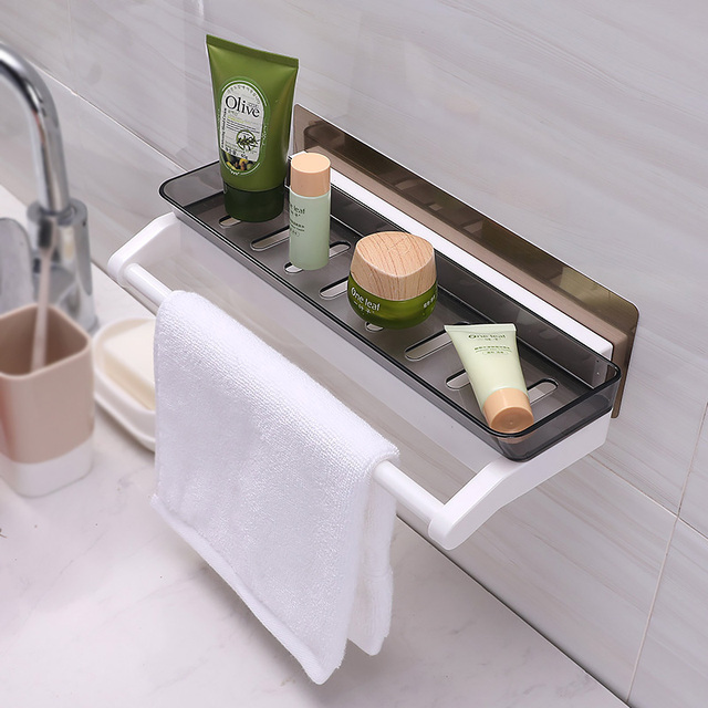 Double Color Bathroom Shelf Wall Mounted Type Suction Cup Storage Rack Lengthen And Increase