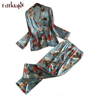 Fdfklak Vintage print silk pyjamas women spring autumn sleepwear pajamas set ladies nightwear pijamas lounge pijama mujer