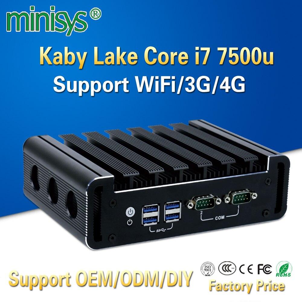 Fanless Linux Computador Intel Core i7 7500u Minisys 4 k Mini PC Barebone Nvidia Dupla Nic i9 suporte de Thin Client ddr4 3G 4G Módulo